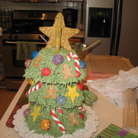 Christmas Tree Cake This was my first stacked cake, but it wasn't as hard as i thought it would be. Each layer is a different flavor (yellow butter,...