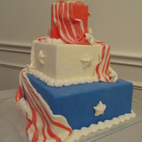 Americake!   Fondant covered, with buttercream accents. Perfect for 4th of July party!