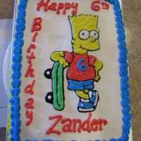 Bart Simpson Cake Bart Simpson cake. Chocolate cake with homemade buttercream icing.
