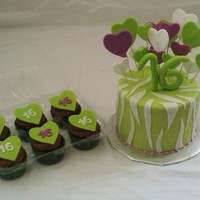 Zebra & Heart Cake And Cupcakes