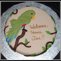 Parrot Request for a customer who's fiance loves parrots. Inspired by a cake posted by - danys. WASC w/ buttercream covered in mmf.