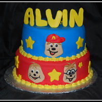 Alvin And The Chipmunks Birthday cake for a woman who loves Alvin :) Top is white chocolate rasberry (thanks to a recipe found here on CC), bottom WASC