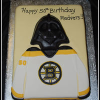Darth Vadar / Boston Bruins This cake is for a star wars / Bruins fan :) Had fun making it, thanks to those that have uploaded Darth Vadar cakes....that helped out...