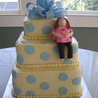 Blue Polka Dot Baby Shower My first attempt at a preg. girl baby shower cake.