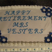 Retirement Cake Pecan Cake, Chocolate Filling, Buttercream and Fondant Flowers