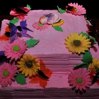 Gerbera Daisy And Butterfly Cake
