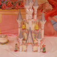 Castle Wilton castle kit. White almond cake, almond buttercream, strawberry and pineapple filling.