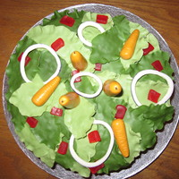 'sally' Made a cake to look like a salad for my BF's birthday. He eats really healthy normally so thought I would make a cake to look like it...
