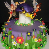 Tinkerbell Tinkerbell and friends. White Chocolate cake with crushed cookies and cream candy bar filling. Iced in white chocolate buttercream and...