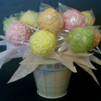 Cake Pop Bucket Bouquet I made these for a good friend of my Mom's. She wanted them spring-like colorful. TFL!