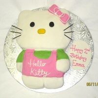 Hello Kitty   This cake was done for a friend's daughter's birthday... vanilla cake wih chocolate buttercream filling, covered in MMF.