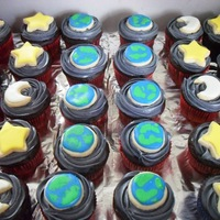 "Outer Space Cupcakes Earth, moon, and star sugar cookie toppers. For an ""Outer Space"" themed Vacation Bible School."