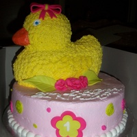 Just Duckie 10 in white cake covered in buttercream with fondant accents. Duck is wilton 3-d pan.