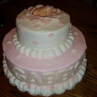 Pink Baby Shower 2 teir with buttercream and fondant accents