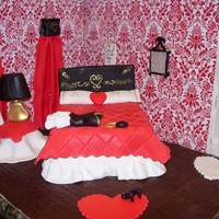 Before The Date Bedroom scene before the Valentine's dinner date. Bed and side table are cake with fondant quilt and table topper . The lamp and vase...