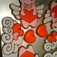 Valentine Cookies I designed the flying pig and cloud and made my own cookie cutters from aluminum flashing. No Fail Sugar Cookies and Royal Icing.