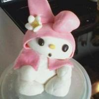 My Melody Cake Topper My melody was made with marshmallow fondant, I colored all the pieces and then attached them with water, and attach the head and body by...
