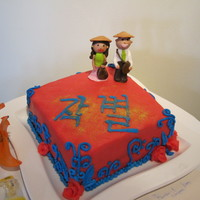 Farewell Cake It's a farewell cake! with Mashmallow fondant people, the cake is a 2-layer chocolate organic cake which is also covered in red mmf...