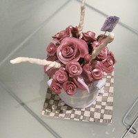 Pot Of Flowers Cake Five Layer Organic marble cake with fugde filling the tiles were made of Marshmallow fondant and tiled with butter-cream and grouted with...