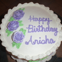 "Purple Rose Cake This is a ""can you do this as a big favor in less than 24 hours...please!!!"" cake. Purple roses with scroll work on side of cake..."