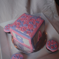 "Baby Block & Cupcakes Baby block (3 - 6"" square cakes) with buttercream with matching cupcakes. TFL!"