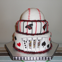 Baseball Poker Cake  This cake was for our ( ADULTS ONLY) Texas Hold'em poker tournament to raise money for our baseball team. Vanilla cake ( a little...