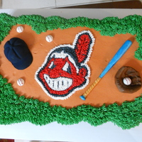 Cleveland Indians Cupcake Cake This is a cupcake cake, it's so much easier to do with a lot of kids, no cutting LOL. Made a template out of the logo and traced onto...