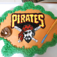 Pirates Logo Cupcake Cake This was for the end of our baseball season party. Made a template out to the logo and cut it out of fondant and drew in the rest. Used a...
