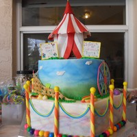 Carnival Cake   Some of the candy I made out of mmf and modeling chocolate, but a lot was store bought, the circus tent is mmf and gumpaste mixed.