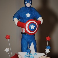 "Captain America Wire frame with modeling choc, then covered in gumpaste. I used a push mold to do his face. Used tip # 4 to make the ""scales"" on..."
