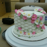 Course 2 Final Cake This was done with royal icing flowers and buttercream basketweave.