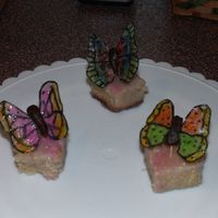 Pound Cake Wtih Sugar Glaze And Rice Paper Butterflies