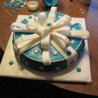 "My First Fancy Cake Ever! This was my FIRST EVER attempt at a ""pretty"" or ""fancy"" cake. (9"" round white cake, BC, entire bow is fondant. (My..."
