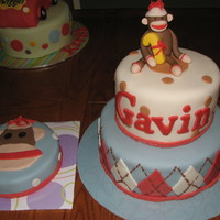 Sock Monkey Cake Fondant figure.