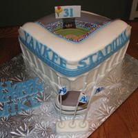 Yankee Stadium Cake My first Stadium cake. Customer wanted the memorials at Center field included.