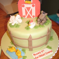 "Farm Cake #2 8"" wasc covered in fondant. All figures and barn are fondant/gp mix."