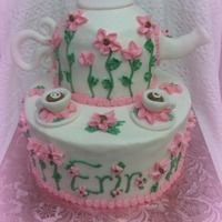 Tea Pot Cake All covered in BC with accents done in Fondant.