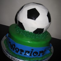 """we Are Going To The World Cup"" 3D Soccer Ball...hand made with 8 inch round base. Grass piped around the edges."