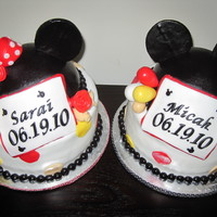 Mickey And Mini Mouse Cakes These cakes were made for a set of twins, boy and girl who were being blessed at church. The entire cake is edible.