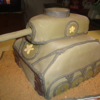Tank This is a tank cake for an 8 year old boys birthday. Chocolate and vanilla cake, MMF with BC piping. The sand is brown sugar