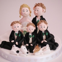 A Family Wedding Topper The whole family - Bride, Groom, 3 sons and 2 dogs!