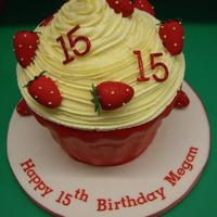 Giant Cupcake - Strawberries And Cream Theme