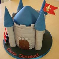 Grey And Blue Castle Cake