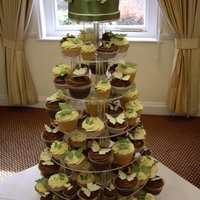 Sage And Ivory Butterfly Cupcake Tower
