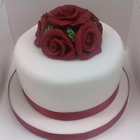 Ivory Cake With Red Rose Posy
