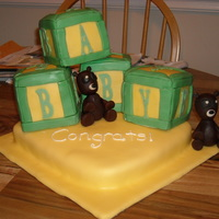 Baby Block W/2 Bears First baby shower cake for a woman expecting twins.