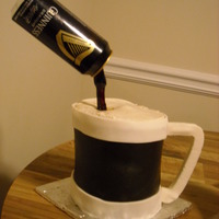 Guinness Anyone? Thank you to CCers for your help. This cake kept wanting to fall over on me! Chocolate guinness cake with chocolate fondant and gumpaste.