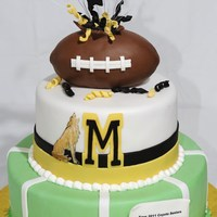 Monarch Senior Football Cake Cake done for an event celebrating the senior football players at a local high school -- the Monarch High School Coyotes. Coyote was hand-...