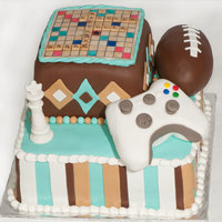 Favorite Games B'day Cake Birthday cake for a 15 year old boy who loves Scrabble, chess, football, and Xbox.