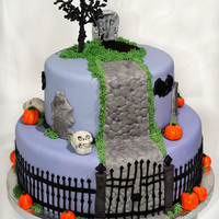 Fresh Grave On Halloween Hill I made this cake to take to a friend's annual Halloween party. The cake was covered in fondant, with fondant decorations and piped...